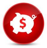 Piggy bank dollar sign icon elegant red round button Stock Image