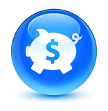 Piggy bank dollar sign icon glassy cyan blue round button Stock Images