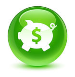 Piggy bank dollar sign icon glassy green round button Stock Images