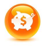 Piggy bank dollar sign icon glassy orange round button Royalty Free Stock Image