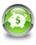 Piggy bank dollar sign icon glossy green round button Royalty Free Stock Images