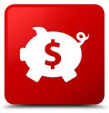 Piggy bank dollar sign icon red square button. Piggy bank dollar sign icon isolated on red square button abstract illustration Stock Images