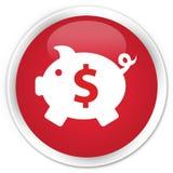 Piggy bank dollar sign icon premium red round button Stock Photos