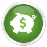 Piggy bank dollar sign icon premium soft green round button Stock Image