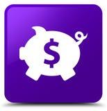 Piggy bank dollar sign icon purple square button Stock Photos