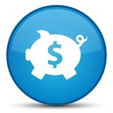 Piggy bank dollar sign icon special cyan blue round button Stock Images
