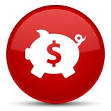 Piggy bank dollar sign icon special red round button. Piggy bank dollar sign icon isolated on special red round button abstract illustration Royalty Free Stock Image