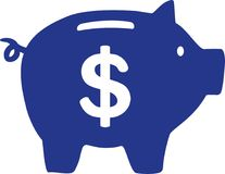 Piggy Bank with dollar sign. Vector Stock Photos