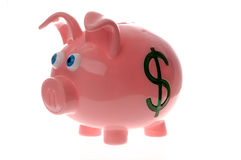 Piggy bank with dollar sign on the side. This stock photo shows a cute pink piggy bank with dollar sign on the side Stock Images