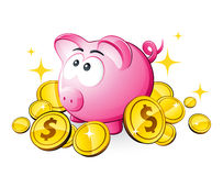 Piggy bank and dollars Royalty Free Stock Photos
