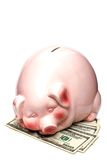 Piggy bank on dollars Stock Photo