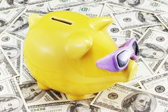 Piggy Bank on Dollars. Funny piggy bank on a dollars background Royalty Free Stock Photos