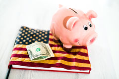 Piggy Bank on Dollars with American Flag. Pink Piggy Bank on Dollars with American Flag Stock Photography