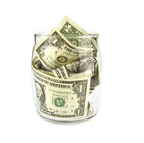 Piggy bank with dollars Royalty Free Stock Images