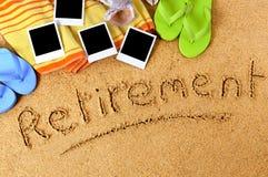 Retirement beach vacation polaroid photo frames Stock Photography