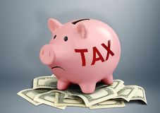 Piggy bank on dollars, tax and income creative concept. Pink Piggy bank on dollars, tax and income creative concept Stock Images