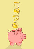 Piggy bank and dollars vector illustration in cartoon style Royalty Free Stock Photography