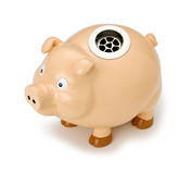 Piggy Bank Business Drain. A piggy bank with a drain instead of a slot isolated on white Royalty Free Stock Image