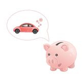 Piggy bank dream a car. This is file of EPS10 format Stock Image