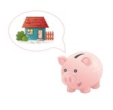 Piggy bank dream a home Royalty Free Stock Photo
