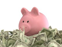 Piggy bank drowning in paper money Stock Images
