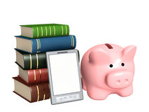 Piggy bank, e-book and books Royalty Free Stock Photography
