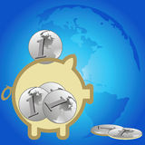 Piggy bank and the Earth Stock Images