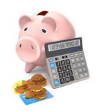 Piggy bank, electronic calculator and gold coins are on a white Royalty Free Stock Photos