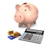 Piggy bank, electronic calculator and money are on a white backg Stock Images