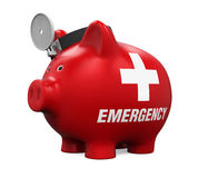 Piggy Bank Emergency Fund. On white background. 3D render Royalty Free Stock Photo