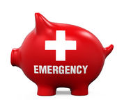 Piggy Bank Emergency Fund. On white background. 3D render Royalty Free Stock Photos