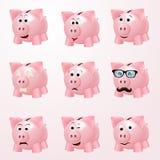 Piggy bank emotions Royalty Free Stock Photos