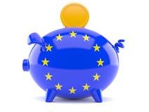 Piggy bank in eu flag Royalty Free Stock Photos