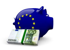 Piggy bank. A piggy bank with EU flag texture and euro bundle Stock Images