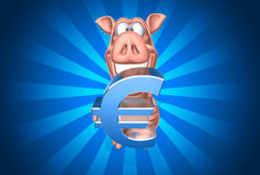 Piggy bank with euro Royalty Free Stock Photo