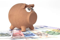 Piggy bank with euro banknotes Royalty Free Stock Photo
