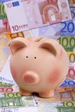 Piggy bank on euro banknotes Royalty Free Stock Images