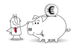 Piggy bank and euro. This business man saves money in his Piggy bank . It's a metaphor. It's a good plan for the future Stock Photo