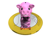 Piggy bank on Euro coin Royalty Free Stock Images