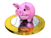 Piggy bank on Euro coin Stock Photos