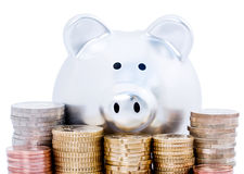 Piggy bank and Euro coins Stock Photo