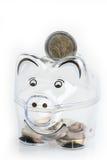 Piggy bank, coins and euro bills. Money saving concept. Banknotes closeup Royalty Free Stock Images