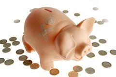 Piggy bank with euro currency Stock Image