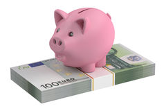 Piggy bank and 100 euro, 3D rendering. On white background Stock Illustration
