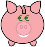 A piggy bank with euro eyes Royalty Free Stock Photography
