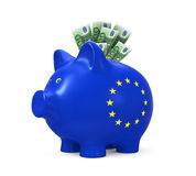 Piggy Bank with Euro Royalty Free Stock Image