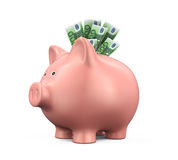 Piggy Bank with Euro Stock Photography