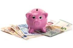 Piggy Bank and Euro Money. Piggy bank surrounded by money Stock Photos