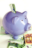 Piggy Bank and euro notes Royalty Free Stock Photo