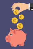 Piggy bank euro. Save money with a piggy bank. Illustration in vectors Stock Photos